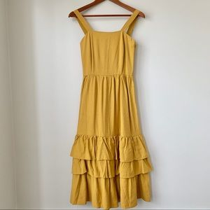THE EDITOR'S MARKET   MULTI RUFFLED A-LINE LONG DRESS IN SUNFLOWER YELLOW